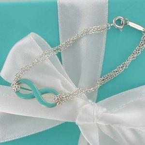 Tiffany Infinity Blue Enamel Double Chain Bracelet
